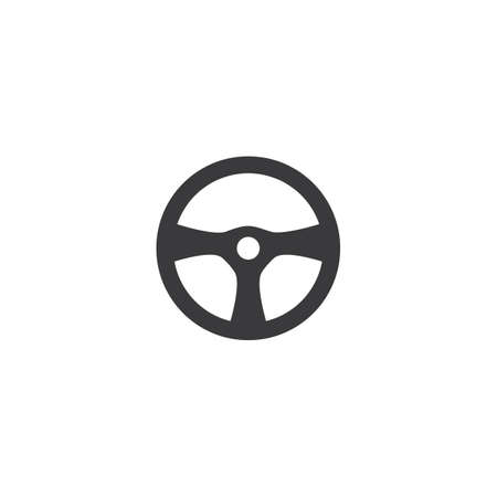Steering wheel logo vector flat design