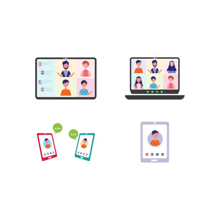 Video conference with character people group flat design