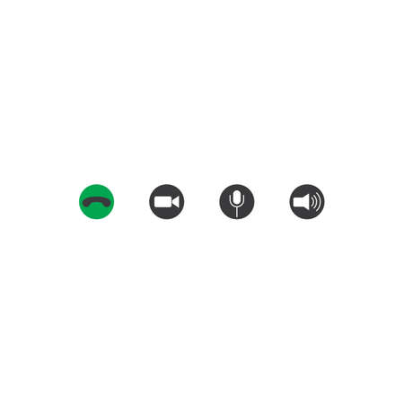 Video call or communication button icon set