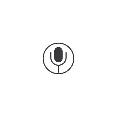 Microphone icon vector template flat design Çizim