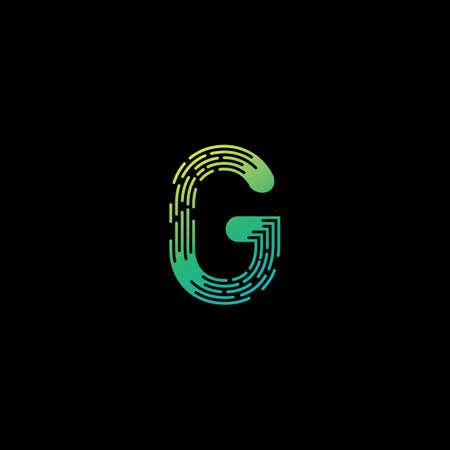 Modern G Initial letter alphabet font   vector design
