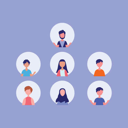 Character people on video conference cartoon flat design