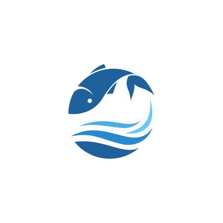 Fish ilustration logo vector template Çizim