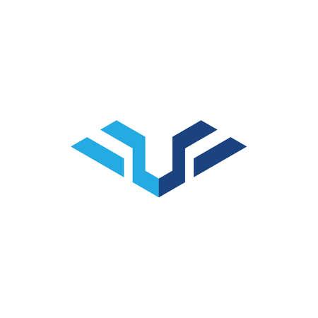 U initial Wing illustration logo vector design