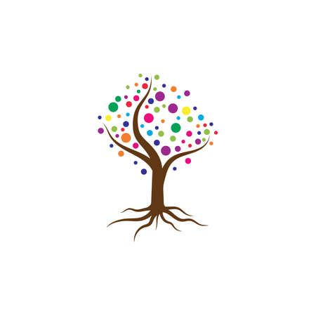 Colorful tree logo template vector illustration