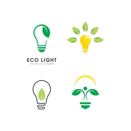 Eco light bulb nature logo vector design