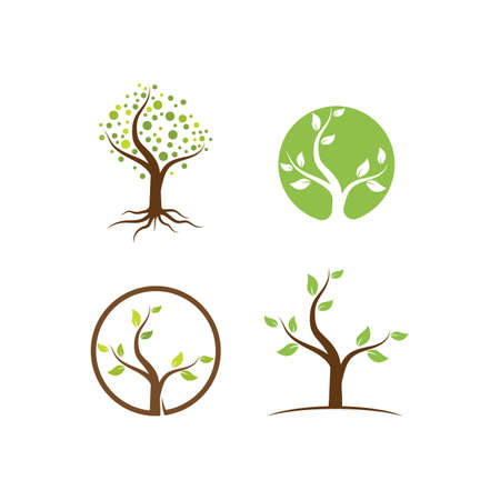 Tree nature illustration logo template vector design
