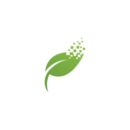Pixel leaf illustration  logo design
