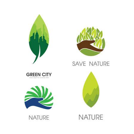 Green city logo illustration vector design