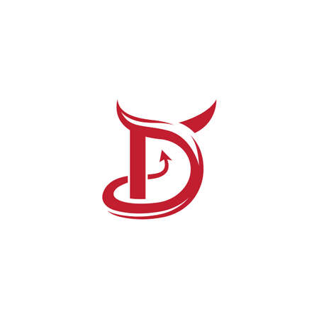 D initial Devil logo ilustration vector template