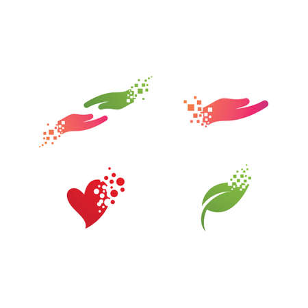 Gift Hand pixel art logo illustration vector design