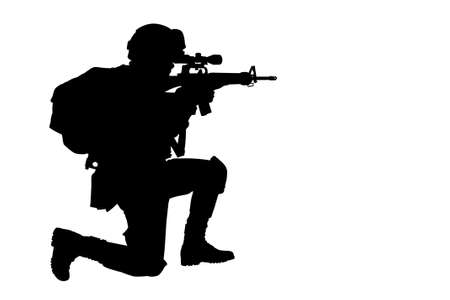 Silhouette of Thai soldier with rifle photo