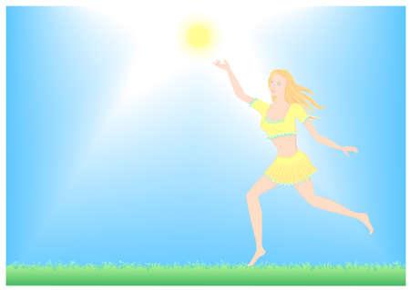 grass plot: girl running enjoys the sun