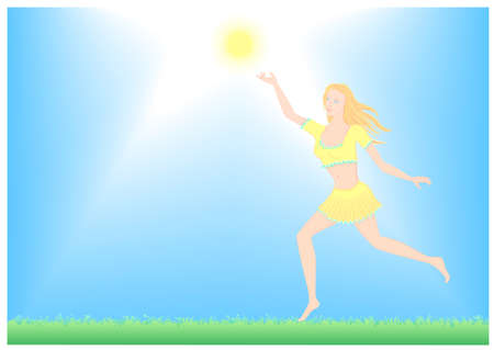girl running enjoys the sun