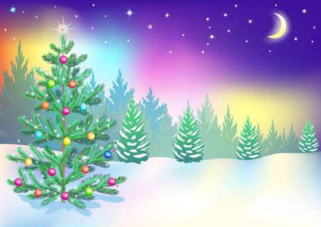 fin de a�o: �rbol de Navidad en el bosque, la v�spera de A�o Nuevo, Luces del Norte