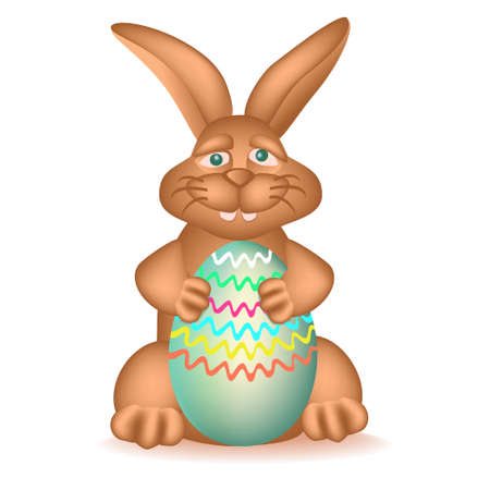 Pleased chocolate bunny with Easter egg