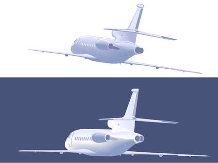 airliner: Flying small airliner. Rear  view. Vector illustration, isolated on white.