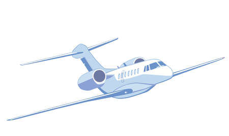 private jet: Flying private jet. Vector illustration, isolated on white. Front view.