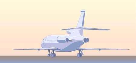 private jet: Business jet bizjet or BJ. Back view. Vector illustration.