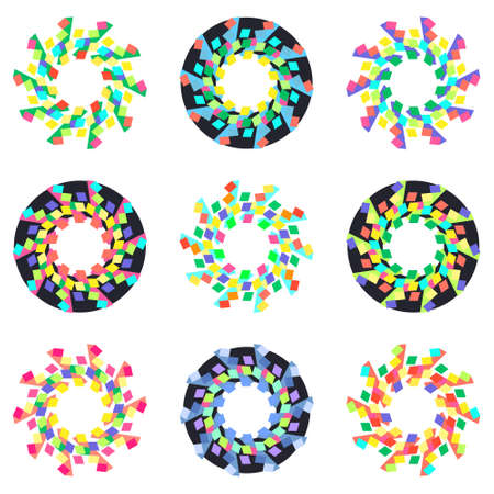 incrustation: Circular geometric mosaic patterns. Vector isolated on white background