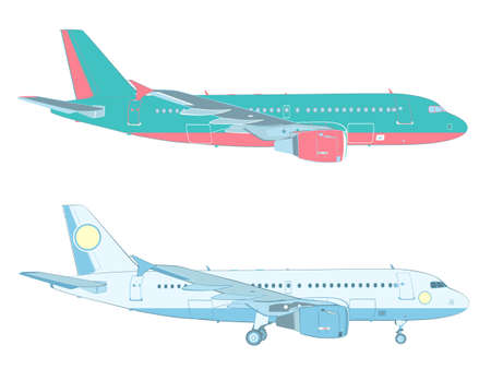 profil: vector drawing of an airbus on white background with and without the landing gear (profile - side  view) Ilustracja
