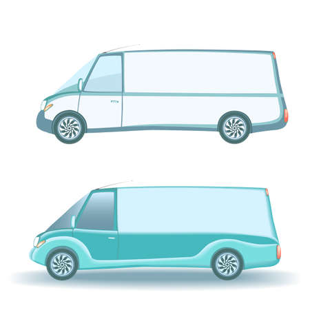 lading: Small commercial vehicle isolated on white background. Illustration
