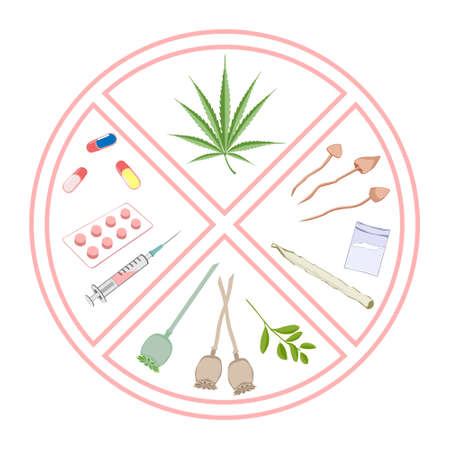 narcotics: Forbidden narcotics. Logo and infographic warning. Items prohibited for transportation, travel, storage, keeping, consumption, use.