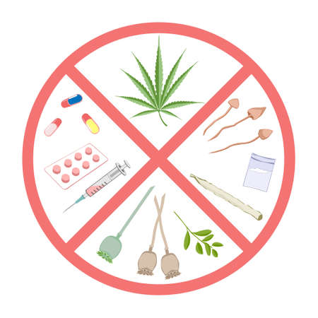 narcotics: Forbidden narcotics. and infographic warning. Items prohibited for transportation, travel, storage, keeping, consumption, use.