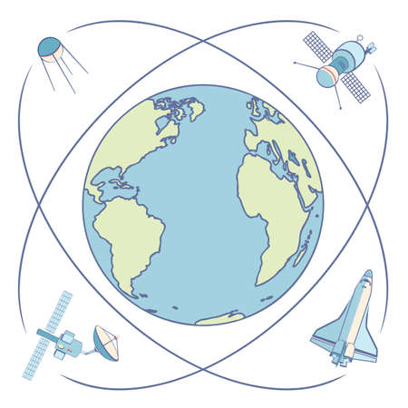 orbiting: Earth in space. Satellites and spacecrafts orbiting Earth. Satellite in Earth orbit relaying communications, broadcasting, data transmission, positioning, locations. Flat elements, labels, icons.