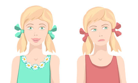 disorganization: Same girl sad and happy. Same girl with upset and funny face. Different facial expression. Joyful and sad girls. Isolated characters. Vector. Illustration