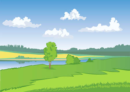field and sky: Green meadow with blue sky and white clouds. Countryside landscape. Open view, scene, space. Yellow field. Illustration