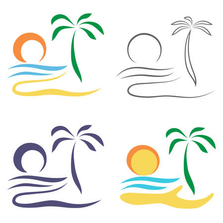 Abstract Palm tree on island. Set of logo design isolated on white background.