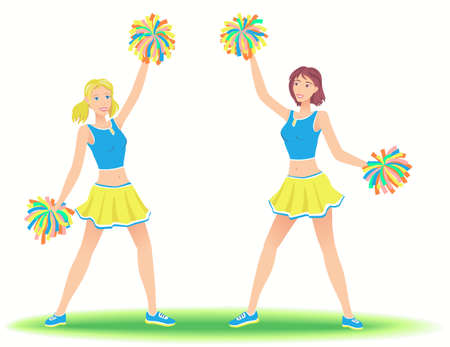 support team: Cheerleaders with pom-poms. Girls support team dancing.
