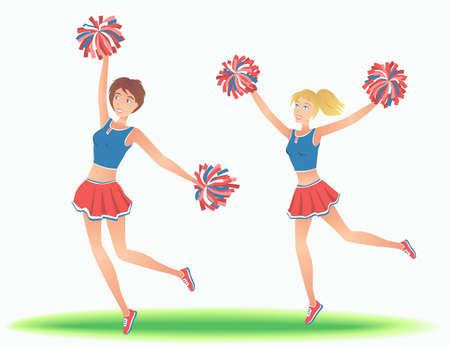 support team: Cheerleaders with pom-poms. Girls support team dancing. Vector illustration.