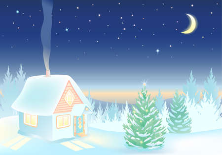 Winter landscape with house and forest. Night sky with the moon and stars. Hut with lighted windows. Background for Merry Christmas and Happy New Year holidays. Vector EPS 8.