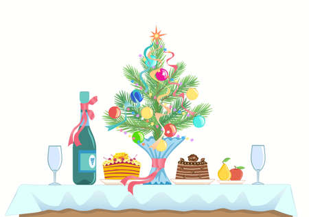 A small table served for two. Menu for celebrating a New Year and Christmas. Cakes, fruit, champagne or wine, wine glasses. branch of spruce (pine) decorated with Christmas toys. Side view. Vector.