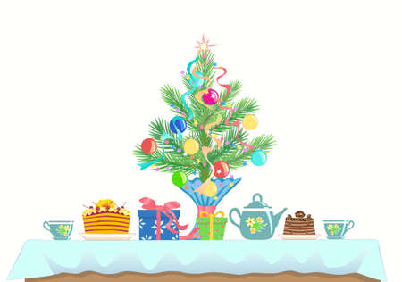 A small table served for two. Menu for celebrating a New Year and Christmas. Cakes, kettle and cups, tea or coffee, branch of spruce (pine) decorated with Christmas toys. Side view. Vector.