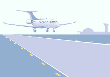 airfield: Business jet landing (take-off). Runway, airfield, airport background. Vector illustration, EPS 8. Illustration