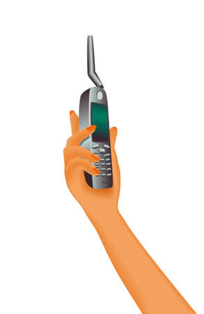 Sat phone in womans hand. Portable satellite phone with antenna. Raster version. Stock Photo