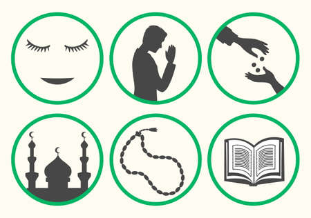 modesty: Ramadan rules signs. Some actions recommend during month of patience. Ramadan etiquette tips illustration. Stock vector.