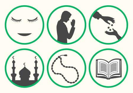 El Ramadán rige las señales. Algunas acciones recomiendan durante el mes de paciencia. Ramadan etiqueta consejos ilustración. Vector stock