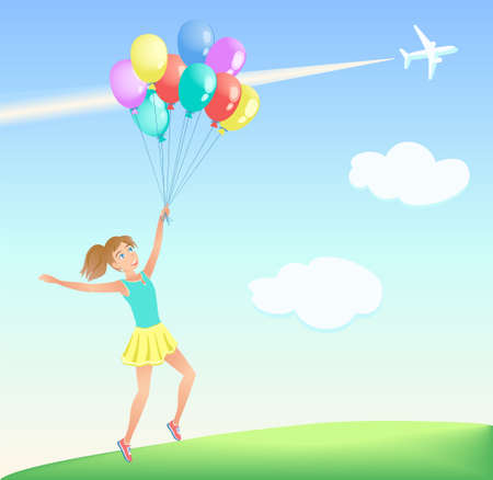 Happy jumping girl with colorful balloons on the lawn. Background of blue sky with white clouds, airliner and trail. Vector illustration. Illustration