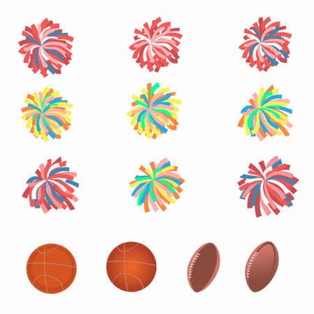 pom pom: Set of multicolored pom-poms. Basketball and football balls. Vector illustration.