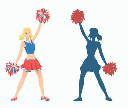 Cheerleaders with pom-poms and her silhouette. Vector illustration EPS-8. Illustration