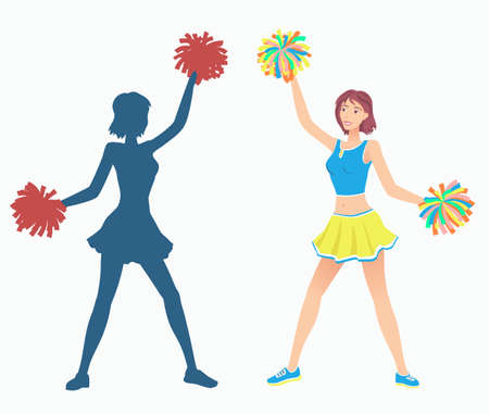 pom: Cheerleaders with pom-poms and her silhouette. Vector illustration EPS-8. Illustration