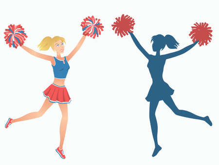 Club dancer with pom-poms and her silhouette. Vector illustration EPS-8. Illustration
