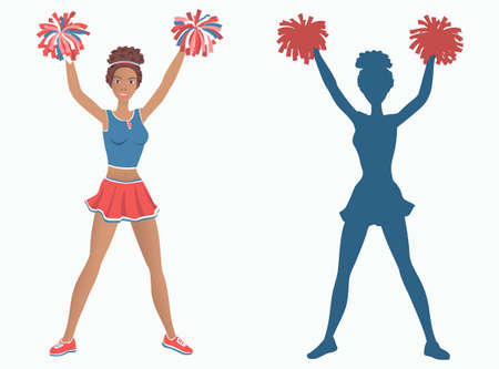 Dancing girl with pom-poms and her silhouette. Vector illustration EPS-8. Illustration