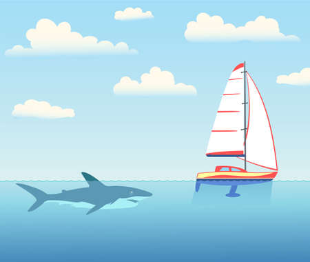 The shark is pursuing the yacht. Ilustrace