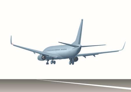 滑走路に旅客機。