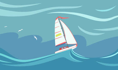 Yacht during a storm. Illustration